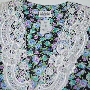 Vintage Leslie Fay blouse macrame collar NWOT